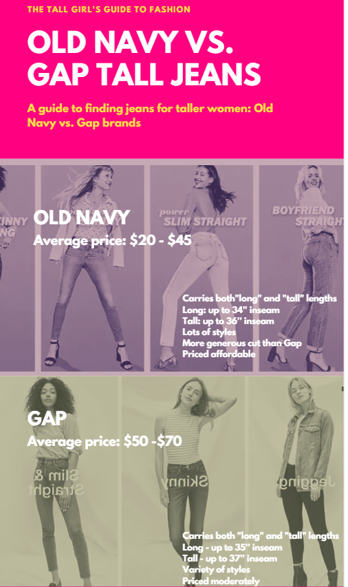 The Battle Of The Tall Women Jeans Part 1 Gap Vs Old Navy The Tall Girl S Guide To Fashion