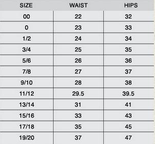 delias size chart