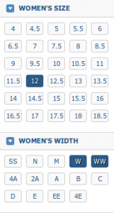 wide shoes for women chart
